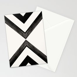 Converging Triangles Black and White Moroccan Tile Pattern Stationery Cards