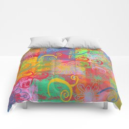 Grunge Swirls, Flowers and textures Comforters