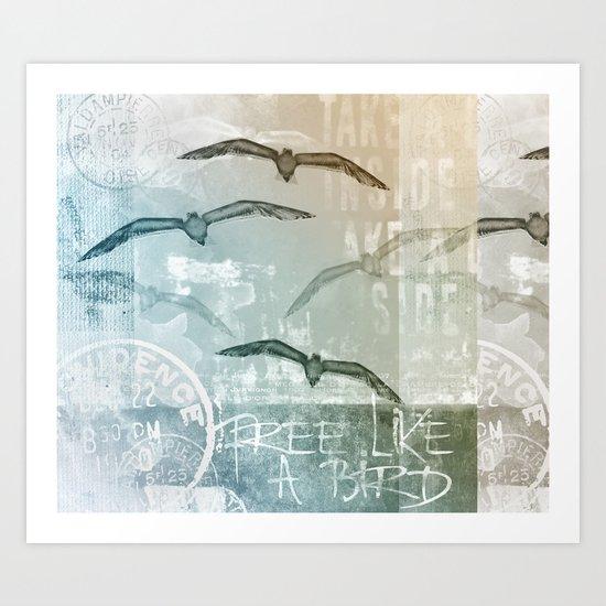 Seagull mixed media artwork Art Print