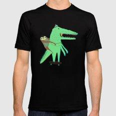 Crocodile and Sloth. Black MEDIUM Mens Fitted Tee