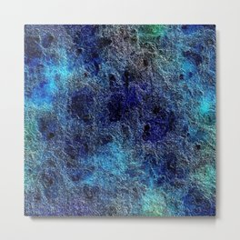 Colorful Cool Rich Jewel Tones Blue Abstract Metal Print