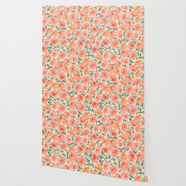 Abstract Watercolor Peonies Peach Wallpaper