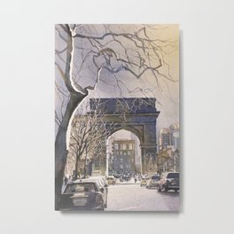Watercolor painting of Triumphal Arch in Washington Square at dusk- New York City, New York (USA). Metal Print