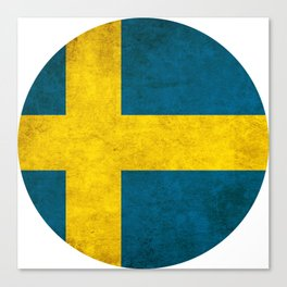 Sweden flag, circle Canvas Print