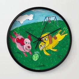 2 Dogs Chasing a Tennis Ball Wall Clock
