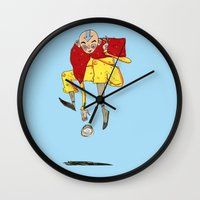 the last airbender Wall Clocks featuring The Airbender by Kassia M. K.