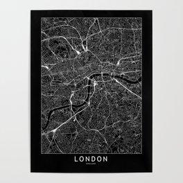 London Black Map Poster