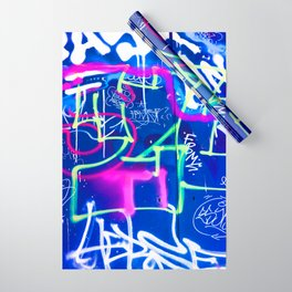Blue Mood with Pink Language Wrapping Paper