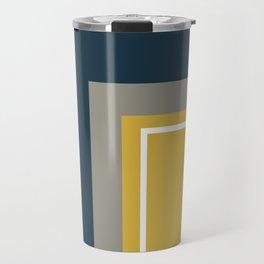 Half Frame Minimalist Pattern 3 in Deep Mustard Yellow, Navy Blue, Grey, and White. Travel Mug