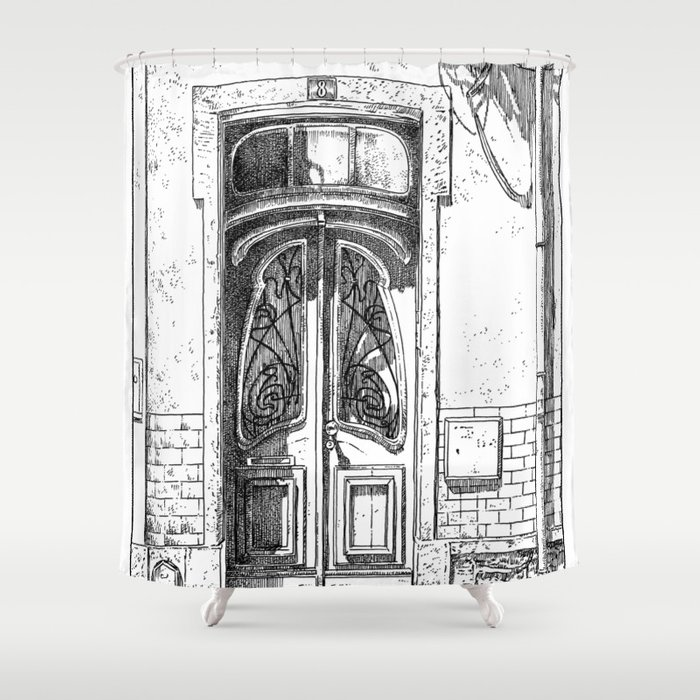 Old Door Urban Landscape Victorian Illustration Style Lisbon Portugal  Shower Curtain
