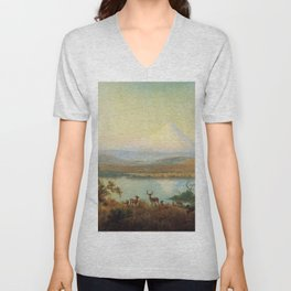 Mt Hood Erupting 1865 By Thomas Hill   Reproduction Unisex V-Neck