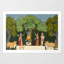 Krishna Entertains his Companions - 18th Century Classical Hindu Art Art Print