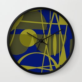 Gold blue vintage stores graphic pattern Wall Clock