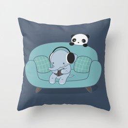 Kawaii Elephant And Panda Throw Pillow