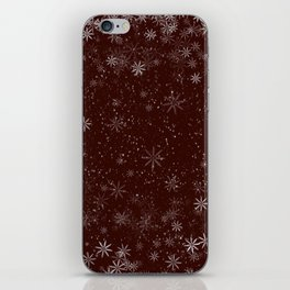 Snowflakes on red background iPhone Skin
