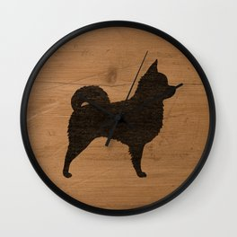 Long Haired Chihuahua Silhouette Wall Clock