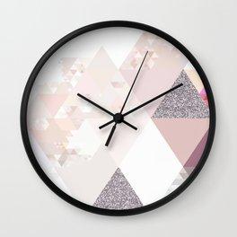 Triangles in glittering Rose quartz - pink glitter triangle pattern Wall Clock