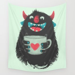 Demon with a cup of coffee Wall Tapestry