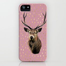 Highland Stag on pink and gold raindrop pattern iPhone Case