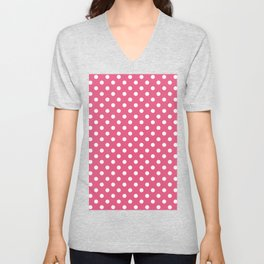 Small Polka Dots - White on Dark Pink Unisex V-Neck