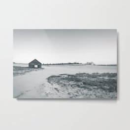 Black and White Barn Landscape Metal Print