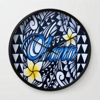 ohana Wall Clocks featuring Ohana (family in hawaiian) by Lonica Photography & Poly Designs