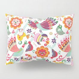 scandinavian folkart birdies | white Pillow Sham