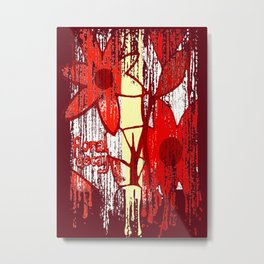 Red Floral Decay Metal Print