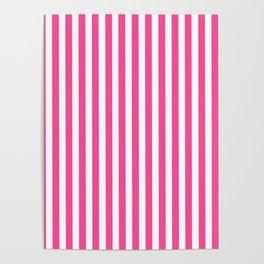 Neon pink white minimalist geometrical stripes Poster