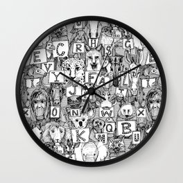 animal ABC black white Wall Clock