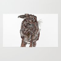 hare Area & Throw Rugs featuring Hare by Meredith Mackworth-Praed