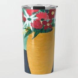 Bouquet in Golden Pot Travel Mug