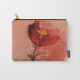 Hand Holding Flower Carry-All Pouch