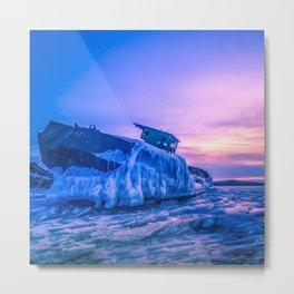 Frozen boat Metal Print