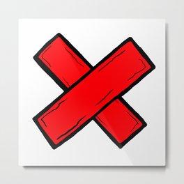 Red Tape Symbol Metal Print