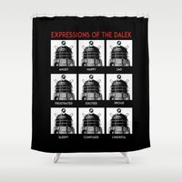dalek Shower Curtains featuring Expressions Of The Dalek by Duke Dastardly