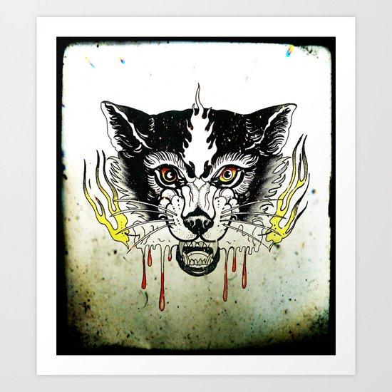 Space Cat King Fire Art Print