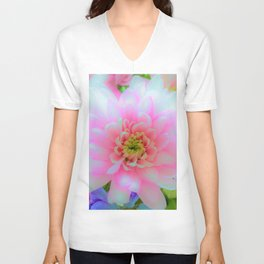 Bouquet in Blue and Pink 1 - enhanced Chrysanthemum Unisex V-Neck