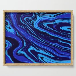Abstract blue vivid agate slice Serving Tray
