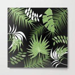 Black and White Green palm tree banana leaves summer tropical leaf print  Metal Print