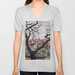 French Provenance Watercolor Artwork in Surrealism Style Unisex V-Neck
