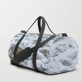 Wave washing over pebbles Duffle Bag