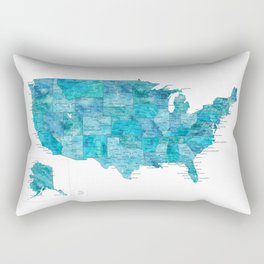 "Teal watercolor map of the USA with cities, ""Norvin"" Rectangular Pillow"