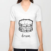 drum V-neck T-shirts featuring drum by Isaac Collmer