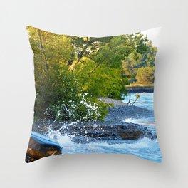 Wave vs Rock Throw Pillow