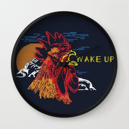 Wake Up Monoline Rooster Graphic Wall Clock