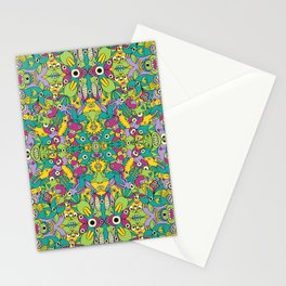 Odd creatures having fun by multiplying in a seamless pattern design Stationery Cards