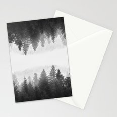 Black and white foggy mirrored forest Stationery Cards