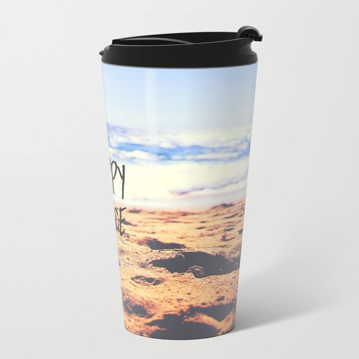 Happy Place Beach Metal Travel Mug