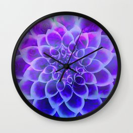 Mindfulness Purple-Pink and Blue Abstract Flower Wall Clock